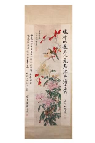 CHINESE PAINTING OF BIRDS AND CHRYSANTHEMUM