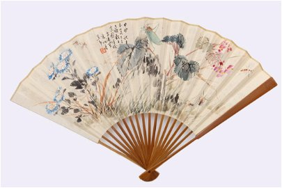 CHINESE FOLDING FAN PAINTING OF INSECTS & FLOWERS