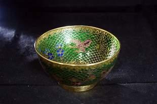 CHINESE CLOISONNE ENAMEL GREEN TEA BOWL