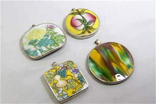 SET OF 4 PORCELAIN INLAID STERLING SILVER PENDANT