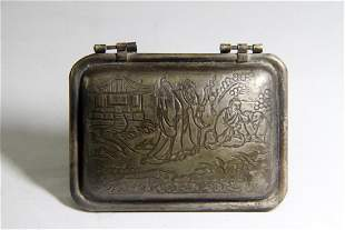 FIGURE ENGRAVED SILVER SEAL CASE