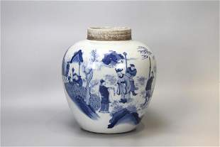 BLUE AND WHITE PANORAMIC FIGURE PORCELAIN JAR