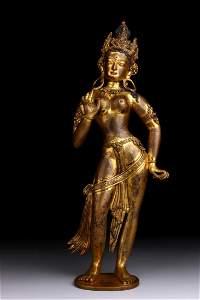 GILT BRONZE FIGURE STATUE OF STANDING BUDDHA