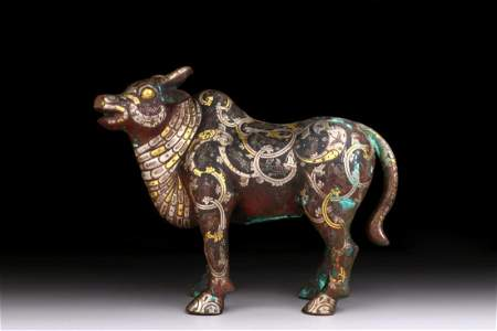 GOLD AND SILVER INLAID BULL ORNAMENT