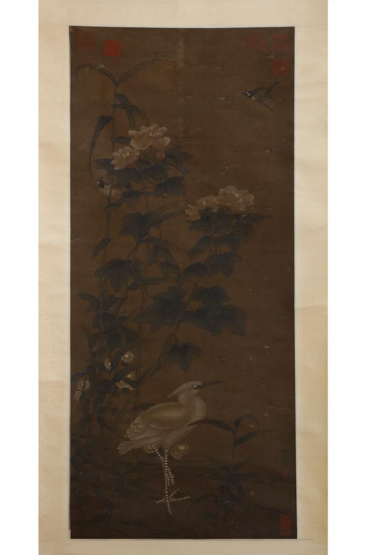 CHINESE SILK PAINTING OF BIRDS AND FLOWERS