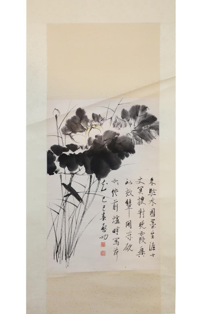 CHINESE PAINTING OF LOTUS FLOWER AND CALLIGRAPH