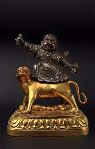 PARTIAL-GILT-BRONZE BUDDHA MAHASIDDHA