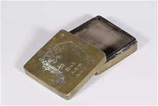 SQUARE INKSTICK BOX IN PLUM BLOSSOM MOTIF