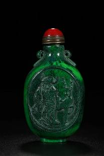 STAGHORN CARVING OPENFACE FIGURE SNUFF BOTTLE