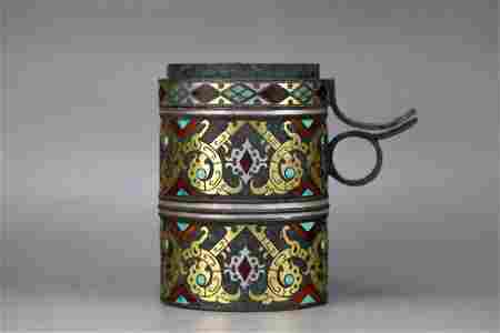 GOLD AND SILVER INLAID BRONZE OIL LAMP