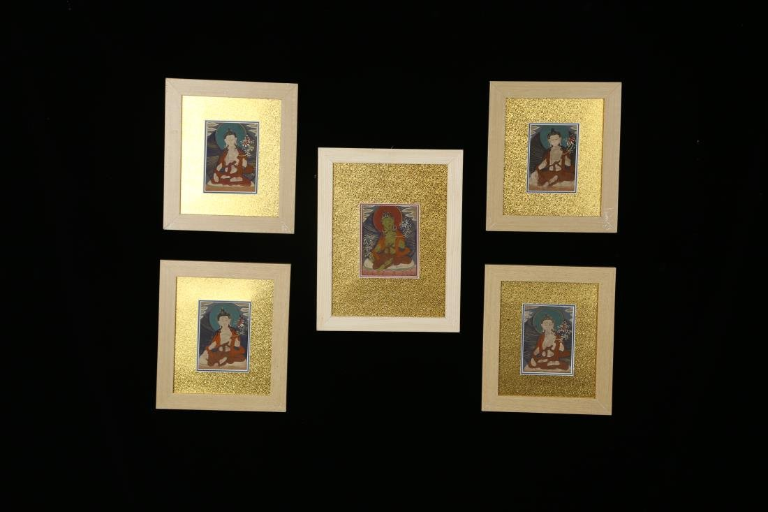 SET OF 5 FRAMED TIBETAN THANGKAS OF BUDDHAS