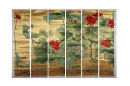 SIX PANELS CHINESE PAINTING OF LOTUS POND