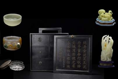 CHINESE WOODEN BOX WITH VARIOUS TREASURES INSIDE