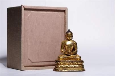GILT BRONZE FIGURE OF MEDICINE GURU BUDDHA