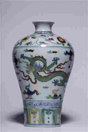 CHINESE DOUCAI DRAGON PORCELAIN MEIPING VASE