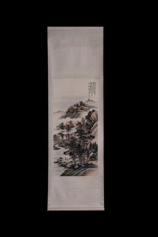 CHINESE PAINTING OF RUNNING RIVER IN MOUNTAIN
