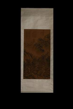 CHINESE SCROLL PAINTING OF MOUNTAIN RANGE