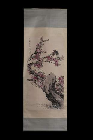 CHINESE HANGING SCROLL PAINTING OF BIRD AND FLOWER