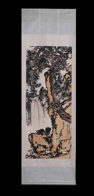 INK AND COLOR PAINTING OF BIRDS UNDER PINE TREE