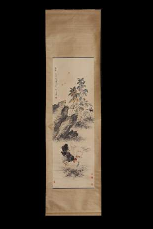 CHINESE SCROLL PAINTING OF ROOSTERS AND INSECT