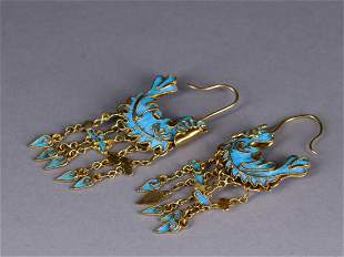 PAIR OF BLUE FEATHER INLAID GILT SILVER EARRINGS