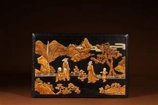 BOXWOOD MOTHEROFPEARL INLAID FIGURE ZITAN BOX