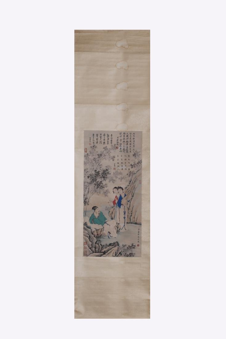 CHINESE FIGURE PAINTING OF PLAYING IN BAMBOO GROVE