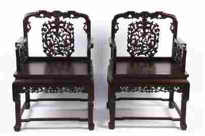 A PAIR OF CHINESE ROSEWOOD CARVING ARMCHAIRS