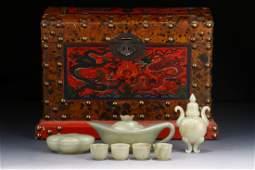 CELADON JADE CARVED TEA SET WITH WOODEN BOX