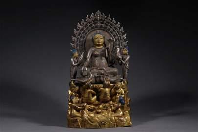 A GILT PURE SILVER FIGURE STATUE OF BUDDHA