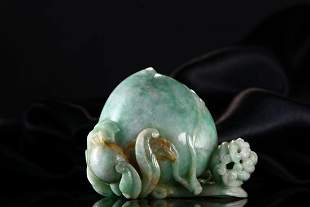JADEITE CARVING OF 'PEACH' ORNAMENT