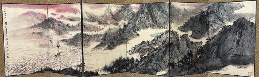 FOLDING-PANEL PAINTING OF LANDSCAPE, FU BAOSHI