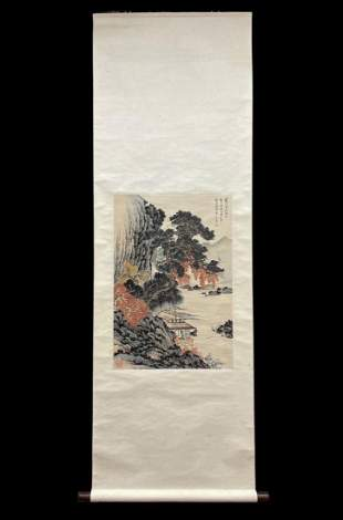 A LANDSCAPE PAINTING OF DWELLING BY RIVER, PURU