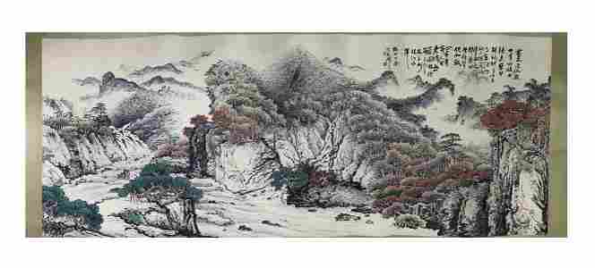 A LARGE PAINTING OF LANDSCAPE, GUAN SHANYUE