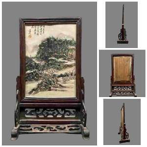 A LANDSCAPE PAINTING TABLE SCREEN, HUANG BINHONG