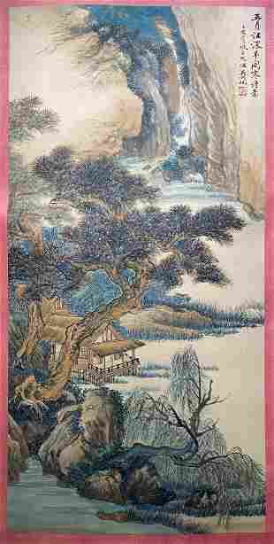 A PAINTING OF COLORFUL LANDSCAPE, WU HUFAN