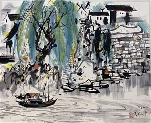 A WATERCOLOR PAINTING OF WATER TOWN, WU GUANZHONG