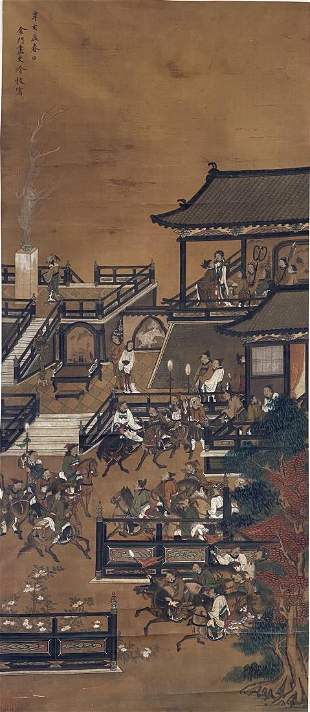 A 'NARRATIVE' HANGING SCROLL PAINTING, LENG MEI