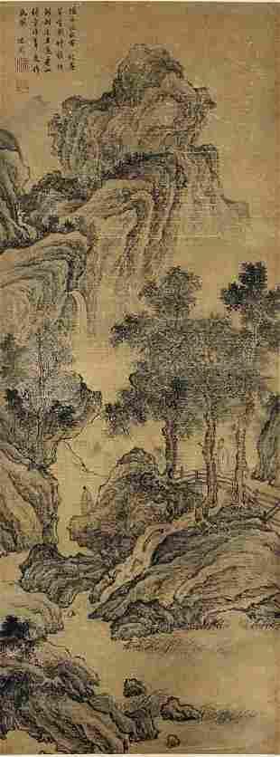 A CHINESE PAINTING OF MOUNTAIN SCENE, SHEN ZHOU
