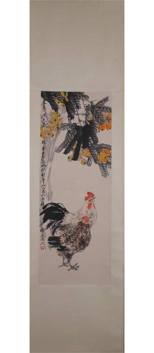 A CHINESE PAINTING OF ROOSTERS, QI BAISHI