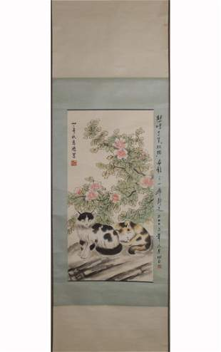 A CHINESE PAINTING OF DOUBLE CATS, XU BEIHONG