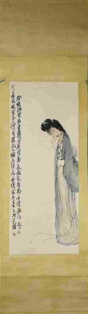 CHINESE PAINTING OF A LADY, QI BAISHI