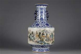 A BLUE AND WHITE FAMILLE ROSE DOUBLE-EAR VASE