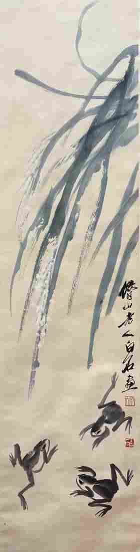 CHINESE PAINTING OF THREE FROGS & PLANT, QI BAISHI