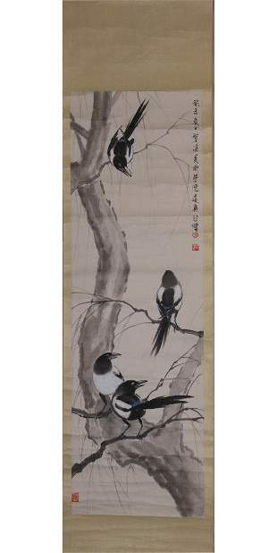 CHINESE PAINTING OF PERCHED MAGPIES, XU BEIHONG