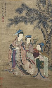 A CHINESE PAINTING OF MAGU WITH PEACH, TANG YIN