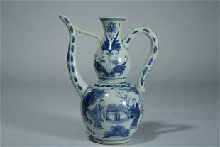 A BLUE AND WHITE 'FIGURE' PORCELAIN EWER