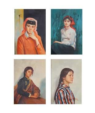 FOUR FEMALE PORTRAIT OIL PAINTING, JIN SHANGYI
