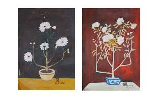 A PAIR OF OIL PAINTING OF FLOWERS, CHANG YU