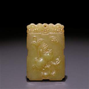 CHINESE YELLOW JADE CARVING 'POMEGRANATE' PLAQUE